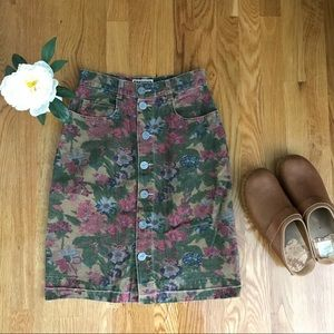 Vintage Floral Jean Skirt with Buttons